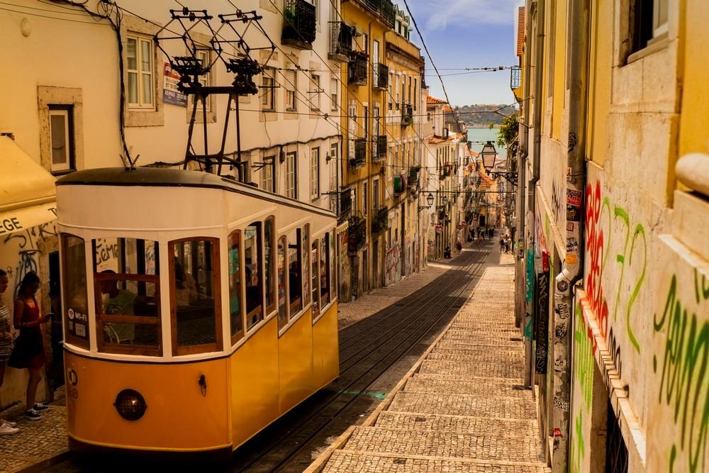 Elevador da Bica - wina w Lizbonie