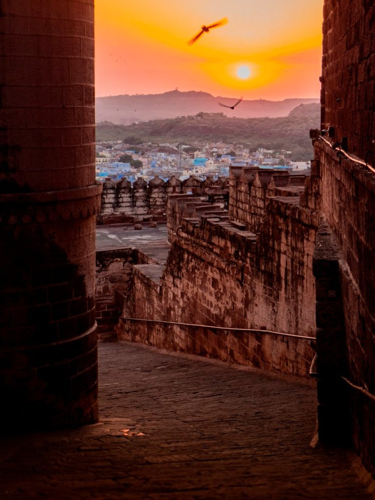 Zachód słońca nad Dźodhpur Indie
