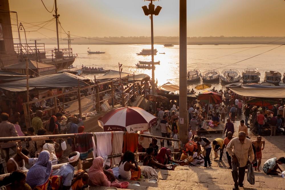 Waranasi Ghaty Gangesu Indie