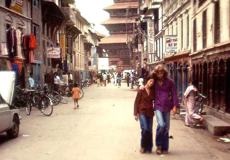 Hipisi na ulicach Katmandu
