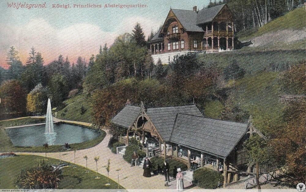 Dworek Myśliwski Księżnej Orańskiej i staw widziany niegdyś z tarasu hotelu Pod Dobrym Humorem. 1897