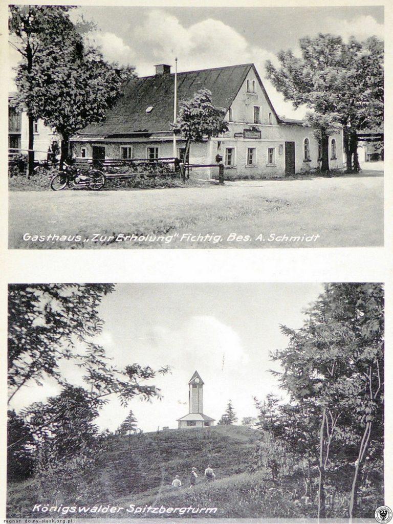 Gospoda w nieistniejącej dziś wsi Sośnina i dawna wieża widokowa na Włodzickiej Górze. 1935-1939