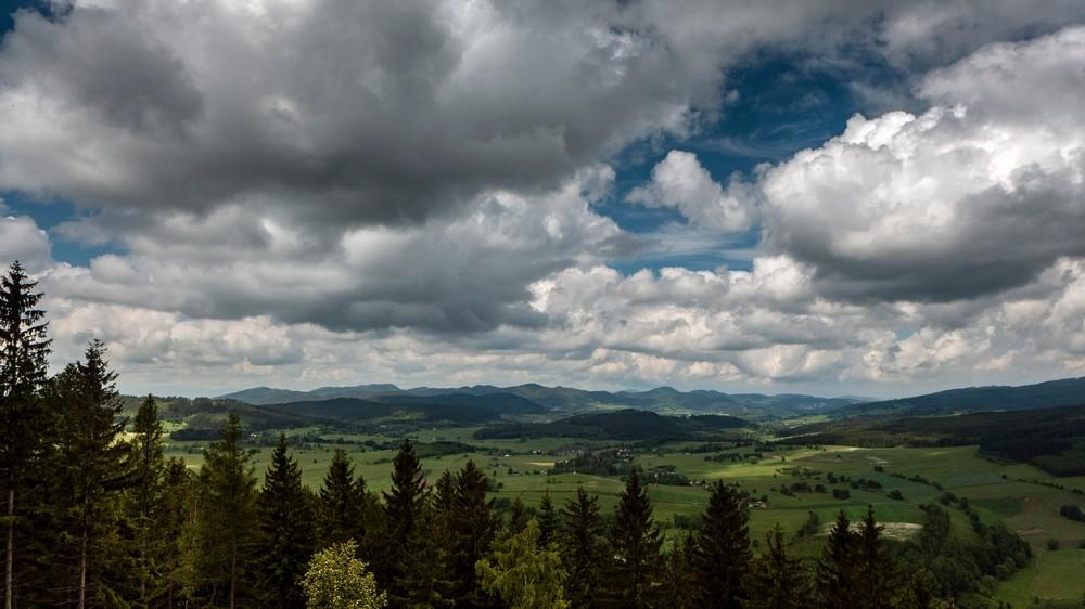Widok na Góry Wałbrzyskie i Góry Sowie z wieży widokowej na Włodzickiej Górze