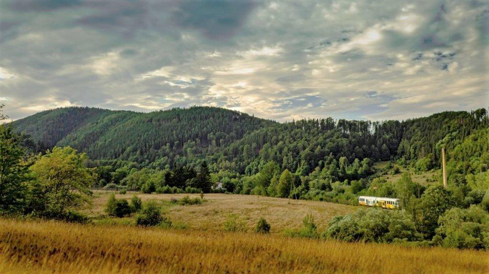 Pociąg Kolei Dolnośląskich zmierzający w stronę tunelu pod Sajdakiem