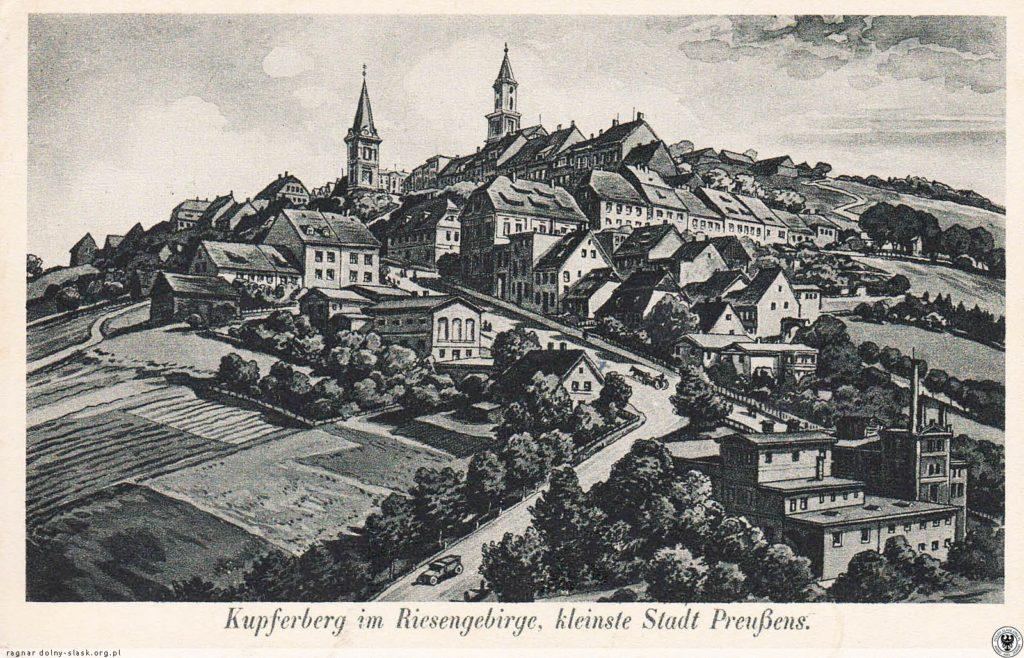 Miedzianka. W prawym dolnym rogu widoczny browar. Po środku droga z Janowic Wielkich. 1914-1925